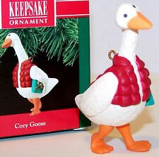 NEW 1990 HALLMARK Ornament COZY GOOSE QX4966 w/Goose Down Vest Mint in Box MIB