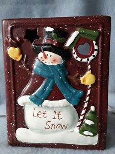 Yankee Candle Christmas Candle Holder Snowman Let it snow