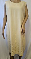 BICE Sag Harbor Linen Blend Sleeveless Dress Size Large Yellow Embroidered