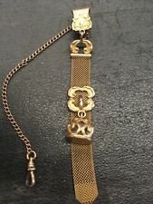 ANTIQUE ORNATE GOLD FILLED POCKET WATCH FOB CHAIN CLIP W CHARMS Free Shipping