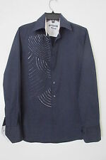 PRIMO EMPORIO Navy Blue  Button Down Slim Fit Shirt SIZE:L