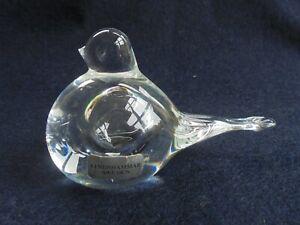 LINDSHAMMAR SWEDISH CRYSTAL ART GLASS BIRD PAPERWEIGHT LIKE NEW