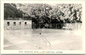 """Minneapolis, Kansas Postcard """"CITY SWIMMING POOL"""" Bathing Scene c1950s Unused"""