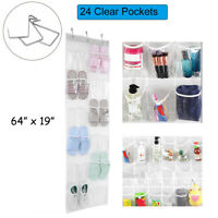 "64"" Over The Door Hanging Storage Holder Hanger Bag Shoe Organizer 24 Pockets"