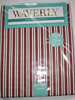 "Waverly Fabric Tablecloth Christmas Red White Green Stripe 60"" ROUND Holiday NEW"