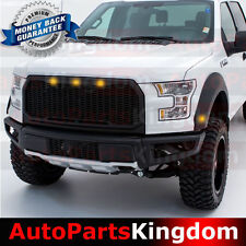 15-17 F150 Raptor Style Matte Black Package Mesh Grille+Shell+Amber LED light