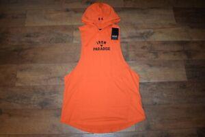 Under Armour Men's Project Rock Sleeveless Hoodie 5215 Size XXL (Orange 851) NWT