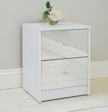 2 Drawer Mirrored Bedside Table Gloss White Frame Bedroom Furniture Storage