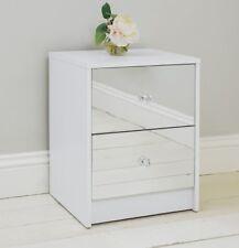 2 Drawer Mirrored Bedside Table Matt White Frame Bedroom Furniture Storage