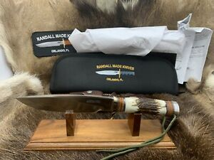 Randall Model 25-6 Trapper Knife With Stag Handles Leather Sheath / Pouch Mint++