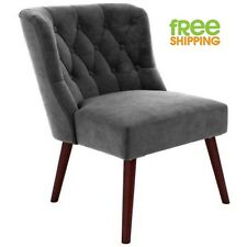 Upholstered Tufted Chair Gray Accent  Vintage Design Comfortable Velvet Wood New