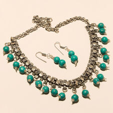 NEW STYLE TURQUOISE 925 STERLING SILVER OVERLAY NECKLACE JEWELERY