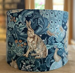 MADE TO ORDER LAMPSHADE WILLIAM MORRIS STANDEN FOREST HARE FOX TEAL GREEN