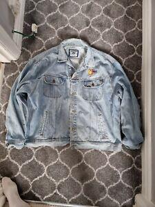 Vintage LEE Embroidered Denim Jacket   XXL 2XL   Retro Trucker Light Wash