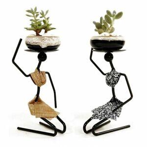 Iron Kneeling Woman Ceramic Flowerpots For Nordic Home & Garden Metal Decoration
