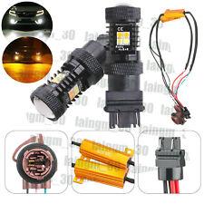 Pair Switchback White/Amber Parking Signal LED Bulb 50W Load Resistors Combo Kit