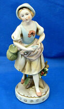"Vintage Homco Figurine Girl With Fish C494 Pretty Face Fishing Basket 8.5"" Euc"