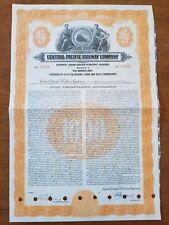 Central Pacific Railroad Bond Stock Certificate Union