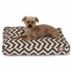 Chocolate Chevron Small Rectangle Indoor Outdoor Pet Dog Bed With Removable W...