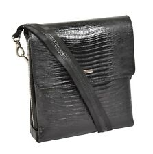 Real Black Leather Messenger Bag ipad Tablet Snake Print Shoulder Organiser Bag