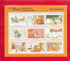 """Disney's """"The Aristocats"""" Souvenir Sheet of 9 Grenadines Stamps # 991 From 1988"""