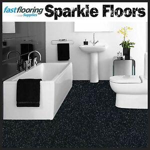 Altro Black Sparkly Bathroom Safety Flooring / Glitter Flooring Wetroom Vinyl