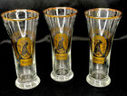 3 - Vintage Coors Tall Beer Glass Pilsner Pint With Gold Rim & Waterfall Logo