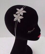Silver Diamante Flower Bridal Headband Headpiece Hair Band Vtg Rhinestone 4397