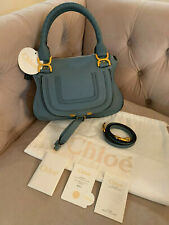 New Chloe Marcie Small Satchel Crossbody, Shoulder Bag Cloudy Blue Grey Blue NWT