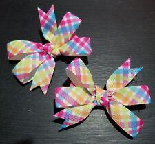 Set of 2 3inch Spring plaid stripe hair bow pigtails girl alligator clip