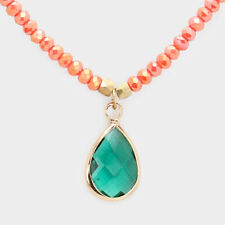 Teardrop Glass Crystal Pendant Faceted Beaded Necklace (Assorted Colors)