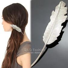 Silver Woodland Bridal Laurel Leaf Feather Hair Pin Clip Dress Snap Barrette