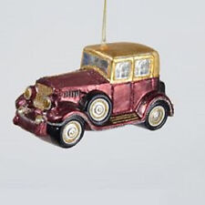TD1396 Kurt Adler Edwardian Burgundy Gold Antique Sedan Glass Christmas Ornament