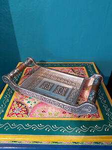 INDIAN SILVER METAL EMBOSSED ORNATE TRAY