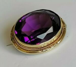 Victorian Brooch Amethyst Paste Stone Pinchbeck Gold Old Antique Purple Lace Pin