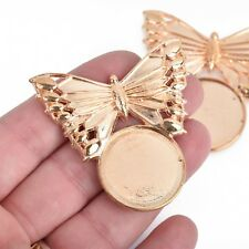 "5 Rose Gold Butterfly Charms fits 25mm round cabochons 2"" wide chs4086"