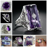 Trendy Ring 925 Silver Plated Amethyst Jewelry Women Wedding Bridal Size 5-12