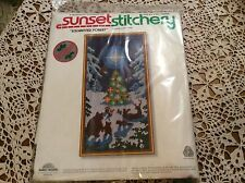 """SUNSET STITCHERY""""ENCHANTED FOREST"""" WOOL NEEDLE POINT EMBROIDERY KIT #2083"""