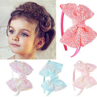 Kids Girls Bowknot Hair Hoop Wide Headband Hairband  Headwear Accessories Gift