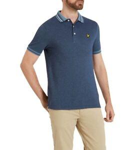 4# Lyle & Scott Oxford Tipped Polo Shirt Mist Blue 2XL RRP £54.95