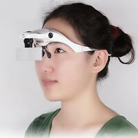 LED Headband Headset Head Lamp Light Jeweler Magnifier Magnifying Glass Loupe