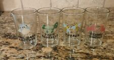 Vintage Barware 4 Glass Set 1960's  Owl, Turtle, Unicorn, and Bees