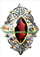 #856 GENUINE GARNET 3 STONE ANTIQUE STYLE .925 STERLING SILVER RING SIZE 8