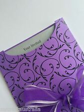 10 X C6 Purple Black Pockets & Envelopes for Wedding / Party Invitations DIY