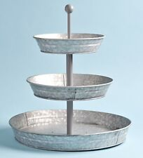 3-Tier Rustic Serving Tray Galvanized Metal Kitchen Stand with Farmhouse Style