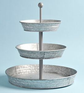 3-Tier Rustic Vertical Kitchen Stand with Galvanized Metal Storage Trays