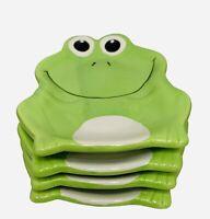 Happy Green Frog Ceramic Soap Dishs Trinket Tray Spoon Rest Set Of 4