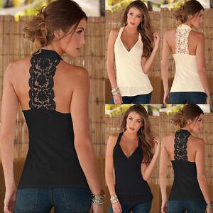 Damen Neckholder T-shirt Tank Top Sexy Spitze Rückenfrei Bluse Shirt Trägertop