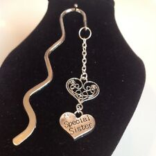 Special sister and heart book mark silver plated