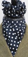 Ready Tied Navy Blue & White Polka Dot Cotton Riding Stock and Scrunchie - Show